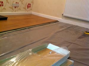 Laminate Flooring (1 of 2) - Laminate flooring being fitted to a house in the Penwortham area of Preston